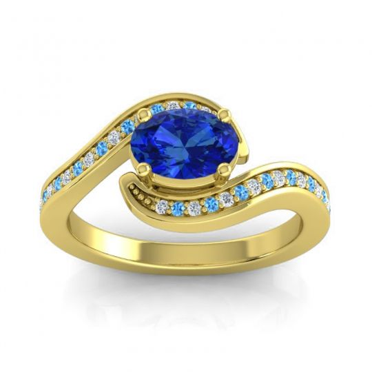 Bypass Oval Pave Phala Blue Sapphire Ring with Swiss Blue Topaz and Diamond in 18k Yellow Gold
