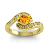 Bypass Oval Pave Phala Citrine Ring with Aquamarine in 14k Yellow Gold