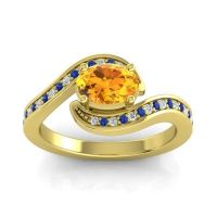 Bypass Oval Pave Phala Citrine Ring with Blue Sapphire and Diamond in 14k Yellow Gold