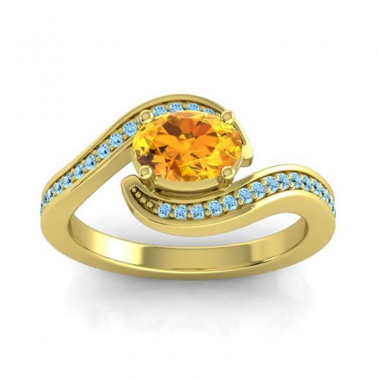 Bypass Oval Pave Phala Citrine Ring with Aquamarine in 18k Yellow Gold