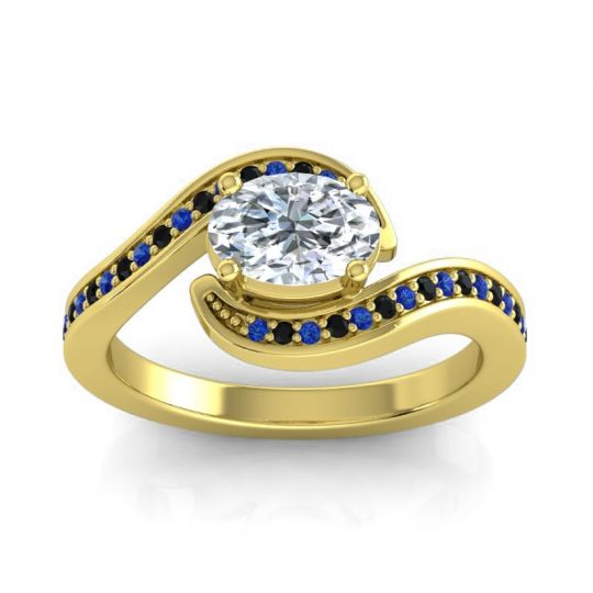 Bypass Oval Pave Phala Diamond Ring with Black Onyx and Blue Sapphire in 14k Yellow Gold