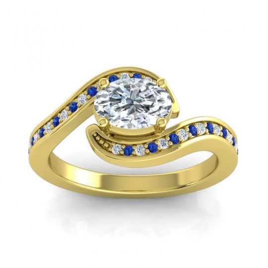 Bypass Oval Pave Phala Diamond Ring with Blue Sapphire in 14k Yellow Gold