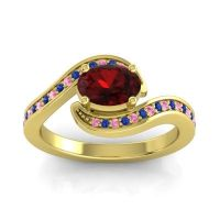 Bypass Oval Pave Phala Garnet Ring with Blue Sapphire and Pink Tourmaline in 18k Yellow Gold