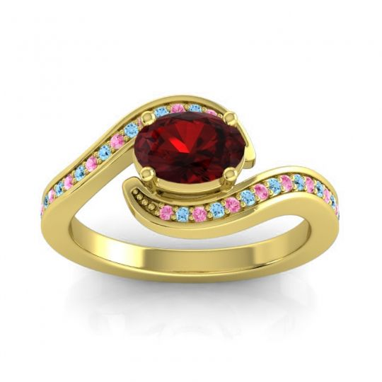 Bypass Oval Pave Phala Garnet Ring with Aquamarine and Pink Tourmaline in 14k Yellow Gold