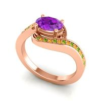 Bypass Oval Pave Phala Amethyst Ring with Citrine and Peridot in 18K Rose Gold