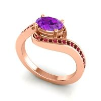 Bypass Oval Pave Phala Amethyst Ring with Garnet and Ruby in 18K Rose Gold