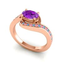 Bypass Oval Pave Phala Amethyst Ring with Pink Tourmaline and Swiss Blue Topaz in 18K Rose Gold
