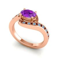 Bypass Oval Pave Phala Amethyst Ring with Swiss Blue Topaz and Garnet in 14K Rose Gold
