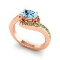 Bypass Oval Pave Phala Aquamarine Ring with Peridot in 14K Rose Gold