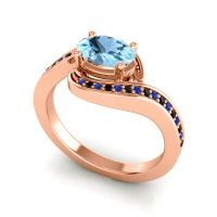 Bypass Oval Pave Phala Aquamarine Ring with Black Onyx and Blue Sapphire in 14K Rose Gold
