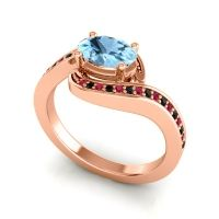 Bypass Oval Pave Phala Aquamarine Ring with Black Onyx and Ruby in 18K Rose Gold