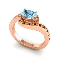 Bypass Oval Pave Phala Aquamarine Ring with Garnet and Citrine in 14K Rose Gold