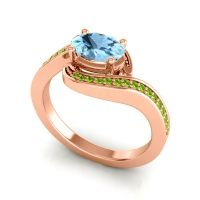 Bypass Oval Pave Phala Aquamarine Ring with Peridot in 18K Rose Gold