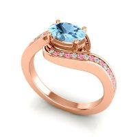 Bypass Oval Pave Phala Aquamarine Ring with Pink Tourmaline and Diamond in 18K Rose Gold
