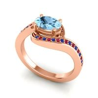 Bypass Oval Pave Phala Aquamarine Ring with Ruby and Blue Sapphire in 14K Rose Gold