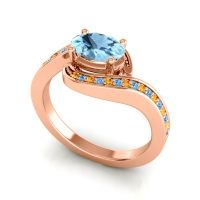 Bypass Oval Pave Phala Aquamarine Ring with Swiss Blue Topaz and Citrine in 18K Rose Gold