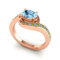 Bypass Oval Pave Phala Aquamarine Ring with Swiss Blue Topaz and Peridot in 14K Rose Gold