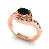 Bypass Oval Pave Phala Black Onyx Ring with Diamond and Blue Sapphire in 18K Rose Gold