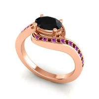 Bypass Oval Pave Phala Black Onyx Ring with Garnet and Amethyst in 18K Rose Gold