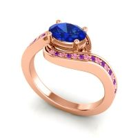 Bypass Oval Pave Phala Blue Sapphire Ring with Amethyst and Pink Tourmaline in 14K Rose Gold