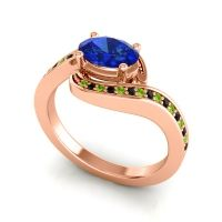 Bypass Oval Pave Phala Blue Sapphire Ring with Black Onyx and Peridot in 18K Rose Gold