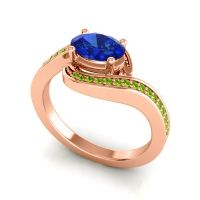 Bypass Oval Pave Phala Blue Sapphire Ring with Peridot in 18K Rose Gold