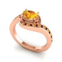 Bypass Oval Pave Phala Citrine Ring with Garnet in 14K Rose Gold