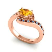 Bypass Oval Pave Phala Citrine Ring with Garnet and Swiss Blue Topaz in 18K Rose Gold