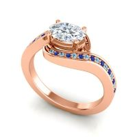 Bypass Oval Pave Phala Diamond Ring with Blue Sapphire and Aquamarine in 18K Rose Gold