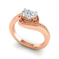 Bypass Oval Pave Phala Diamond Ring with Citrine and Pink Tourmaline in 18K Rose Gold