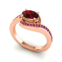 Bypass Oval Pave Phala Garnet Ring with Amethyst and Ruby in 14K Rose Gold