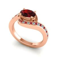 Bypass Oval Pave Phala Garnet Ring with Aquamarine and Ruby in 14K Rose Gold