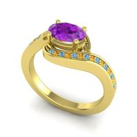 Bypass Oval Pave Phala Amethyst Ring with Citrine and Swiss Blue Topaz in 18k Yellow Gold