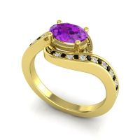 Bypass Oval Pave Phala Amethyst Ring with Diamond and Black Onyx in 14k Yellow Gold