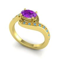 Bypass Oval Pave Phala Amethyst Ring with Swiss Blue Topaz and Citrine in 18k Yellow Gold