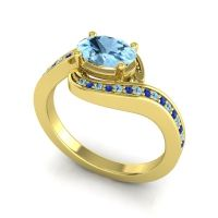 Bypass Oval Pave Phala Aquamarine Ring with Blue Sapphire in 18k Yellow Gold