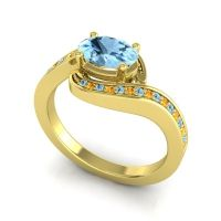 Bypass Oval Pave Phala Aquamarine Ring with Citrine in 18k Yellow Gold