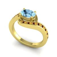 Bypass Oval Pave Phala Aquamarine Ring with Garnet and Citrine in 14k Yellow Gold