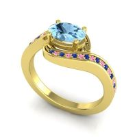 Bypass Oval Pave Phala Aquamarine Ring with Pink Tourmaline and Blue Sapphire in 14k Yellow Gold