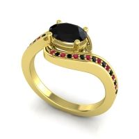 Bypass Oval Pave Phala Black Onyx Ring with Ruby in 14k Yellow Gold