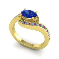 Bypass Oval Pave Phala Blue Sapphire Ring with Amethyst and Swiss Blue Topaz in 18k Yellow Gold