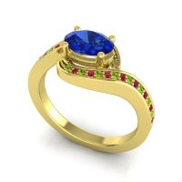 Bypass Oval Pave Phala Blue Sapphire Ring with Ruby and Peridot in 14k Yellow Gold