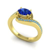 Bypass Oval Pave Phala Blue Sapphire Ring with Swiss Blue Topaz in 18k Yellow Gold