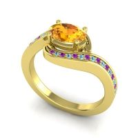 Bypass Oval Pave Phala Citrine Ring with Aquamarine and Amethyst in 14k Yellow Gold