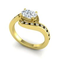Bypass Oval Pave Phala Diamond Ring with Black Onyx in 18k Yellow Gold