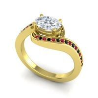 Bypass Oval Pave Phala Diamond Ring with Black Onyx and Ruby in 14k Yellow Gold