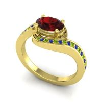 Bypass Oval Pave Phala Garnet Ring with Blue Sapphire and Peridot in 14k Yellow Gold