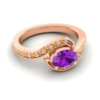 Bypass Oval Pave Phala Amethyst Ring with Citrine and Diamond in 18K Rose Gold
