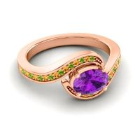 Bypass Oval Pave Phala Amethyst Ring with Citrine and Peridot in 14K Rose Gold