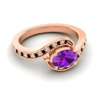Bypass Oval Pave Phala Amethyst Ring with Diamond and Black Onyx in 14K Rose Gold